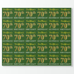 "[ Thumbnail: Green, Imitation Gold Look ""70th Birthday"" Wrapping Paper ]"