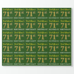 "[ Thumbnail: Green, Imitation Gold Look ""71st Birthday"" Wrapping Paper ]"