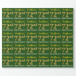 "[ Thumbnail: Green, Imitation Gold Look ""72nd Birthday"" Wrapping Paper ]"