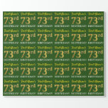 "[ Thumbnail: Green, Imitation Gold Look ""73rd Birthday"" Wrapping Paper ]"