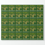 "[ Thumbnail: Green, Imitation Gold Look ""74th Birthday"" Wrapping Paper ]"