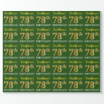 "[ Thumbnail: Green, Imitation Gold Look ""78th Birthday"" Wrapping Paper ]"