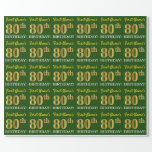 "[ Thumbnail: Green, Imitation Gold Look ""80th Birthday"" Wrapping Paper ]"