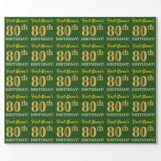 """Green, Imitation Gold Look """"80th BIRTHDAY"""" Wrapping Paper"""