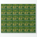 "[ Thumbnail: Green, Imitation Gold Look ""83rd Birthday"" Wrapping Paper ]"