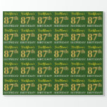 "[ Thumbnail: Green, Imitation Gold Look ""87th Birthday"" Wrapping Paper ]"