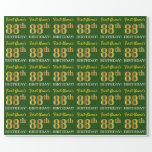 "[ Thumbnail: Green, Imitation Gold Look ""88th Birthday"" Wrapping Paper ]"