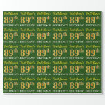 "[ Thumbnail: Green, Imitation Gold Look ""89th Birthday"" Wrapping Paper ]"