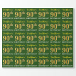 "[ Thumbnail: Green, Imitation Gold Look ""90th Birthday"" Wrapping Paper ]"