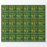 "[ Thumbnail: Green, Imitation Gold Look ""91st Birthday"" Wrapping Paper ]"