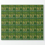 "[ Thumbnail: Green, Imitation Gold Look ""93rd Birthday"" Wrapping Paper ]"