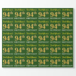 "[ Thumbnail: Green, Imitation Gold Look ""94th Birthday"" Wrapping Paper ]"