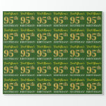 "[ Thumbnail: Green, Imitation Gold Look ""95th Birthday"" Wrapping Paper ]"