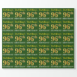 "[ Thumbnail: Green, Imitation Gold Look ""96th Birthday"" Wrapping Paper ]"