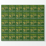"[ Thumbnail: Green, Imitation Gold Look ""97th Birthday"" Wrapping Paper ]"