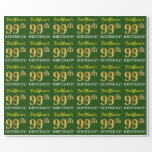"[ Thumbnail: Green, Imitation Gold Look ""99th Birthday"" Wrapping Paper ]"