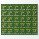 "[ Thumbnail: Green, Imitation Gold Look ""9th Birthday"" Wrapping Paper ]"