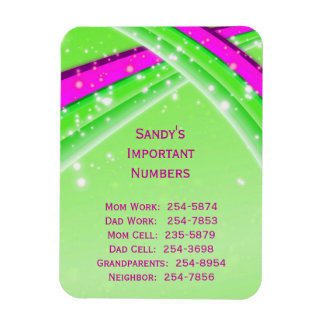 Green Important Phone Numbers Magnet