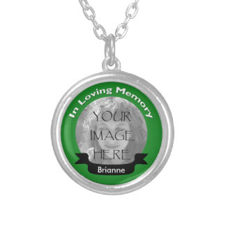 Green In Loving Memory Photo Necklace