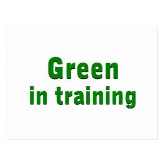 Green in training postcard