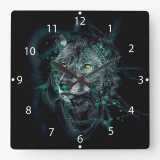 Green indian wolf square wall clock
