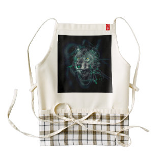 Green indian wolf zazzle HEART apron