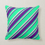 [ Thumbnail: Green, Indigo, and Beige Colored Pattern Pillow ]