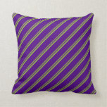 [ Thumbnail: Green & Indigo Colored Lined Pattern Throw Pillow ]
