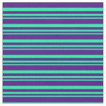 [ Thumbnail: Green & Indigo Colored Pattern Fabric ]