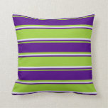 [ Thumbnail: Green, Indigo & Lavender Colored Pattern Pillow ]