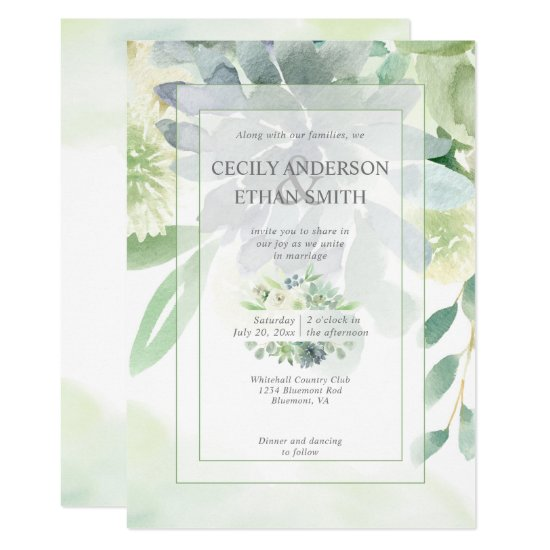 Green & Indigo Succulents White Flowers Wedding Invitation