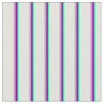 [ Thumbnail: Green, Indigo, Violet & Light Cyan Stripes Fabric ]