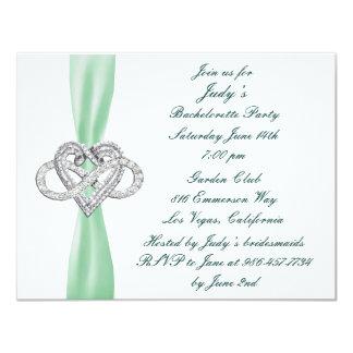 Green Infinity Heart Bachelorette Party Invitation