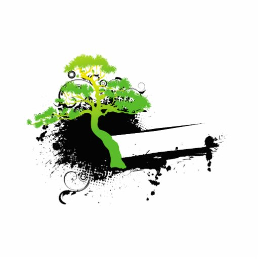 Green informal tree black splotch photo cut out