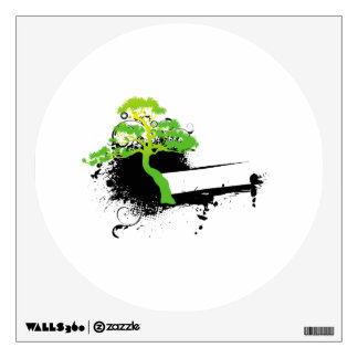 Green informal tree black splotch. wall decal