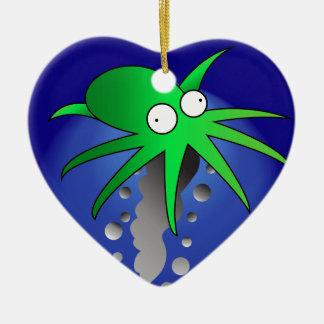 Green Ink Ceramic Ornament