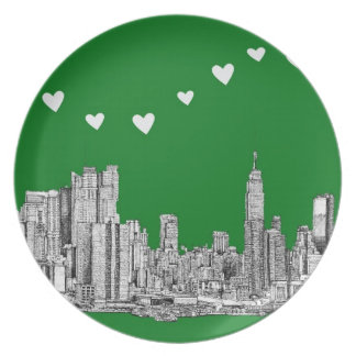 green ink NYC Party Plates