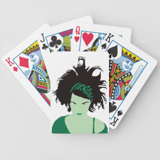 Green Insane Girl Bicycle Playing Cards