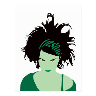 Green Insane Girl Postcard