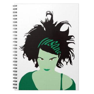 Green Insane Girl Spiral Notebook