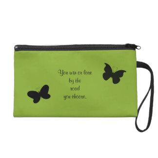 Green Inspirational Butterfly Wristlet