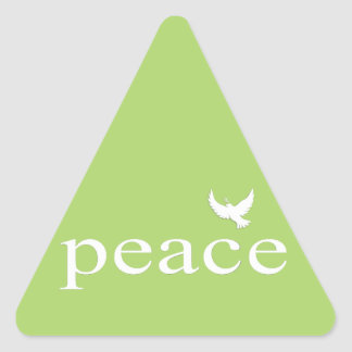 Green Inspirational Peace Quote Triangle Stickers