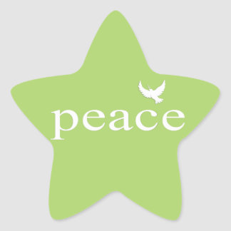 Green Inspirational Peace Quote Star Stickers