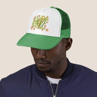Green Inspirational Word Hope Art Hat