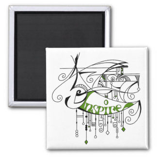 Green Inspire In Lines and Dangles Magnet