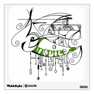 Green Inspire In Lines and Dangles Wall Sticker