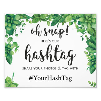 Green instagram hashtag sign Summer wedding poster