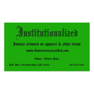 green, Institutionalized, Inmate artwork on app... Double-Sided Standard Business Cards (Pack Of 100)