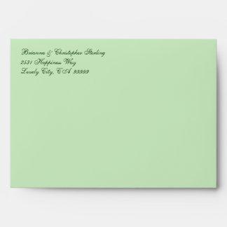 Green Invitation Envelopes - Green Damask