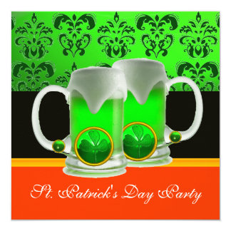 GREEN IRISH BEER GLASSES ST PATRICK'S DAY PARTY INVITATION